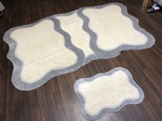 ROMANY WASHABLES TRAVELLERS 4 MATS NON SLIP NEW DESIGN SUPER THICK CREAM/SILVER
